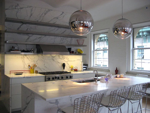 white marble kitchen counter tops
