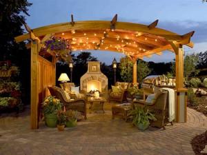 fireplace pergola outdoor