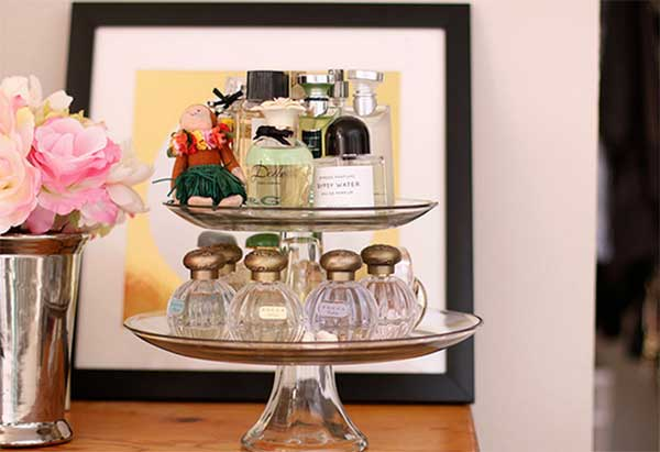 fragrances on a cake stand