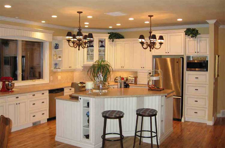 kitchen with recessed cabinets